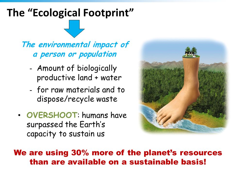 The Ecological Footprint - Amount of biologically productive land + water - for raw materials and to dispose/recycle waste OVERSHOOT: humans have surp