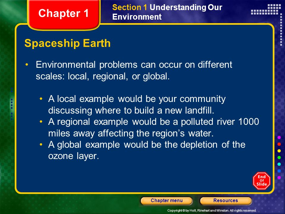 Copyright © by Holt, Rinehart and Winston. All rights reserved. ResourcesChapter menu Spaceship Earth Environmental problems can occur on different sc