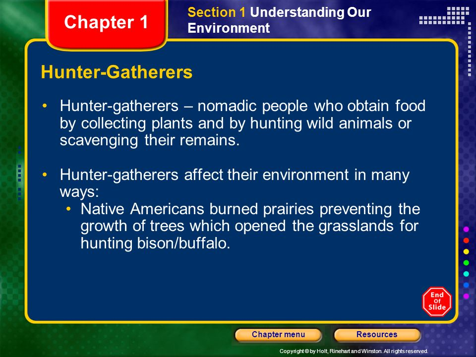 Copyright © by Holt, Rinehart and Winston. All rights reserved. ResourcesChapter menu Hunter-Gatherers Hunter-gatherers – nomadic people who obtain fo
