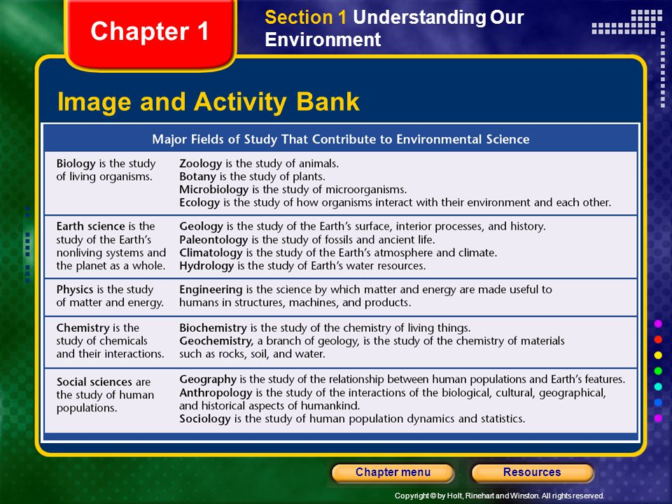 Copyright © by Holt, Rinehart and Winston. All rights reserved. ResourcesChapter menu Image and Activity Bank Section 1 Understanding Our Environment