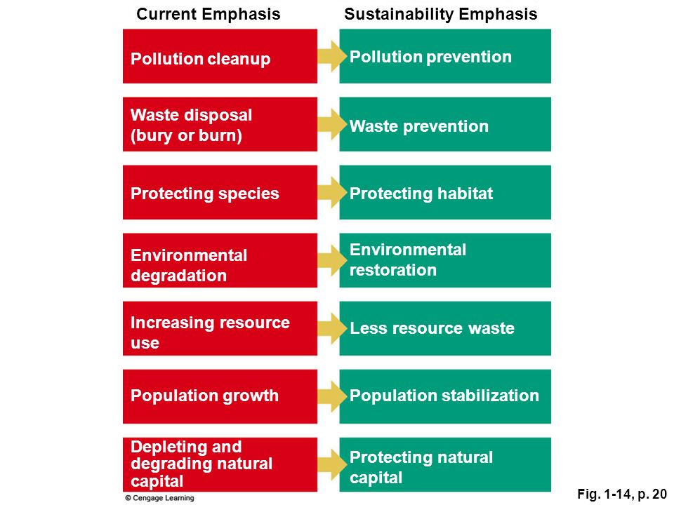 Fig. 1-14, p. 20 Increasing resource use Sustainability EmphasisCurrent Emphasis Pollution prevention Waste prevention Protecting habitat Environmenta