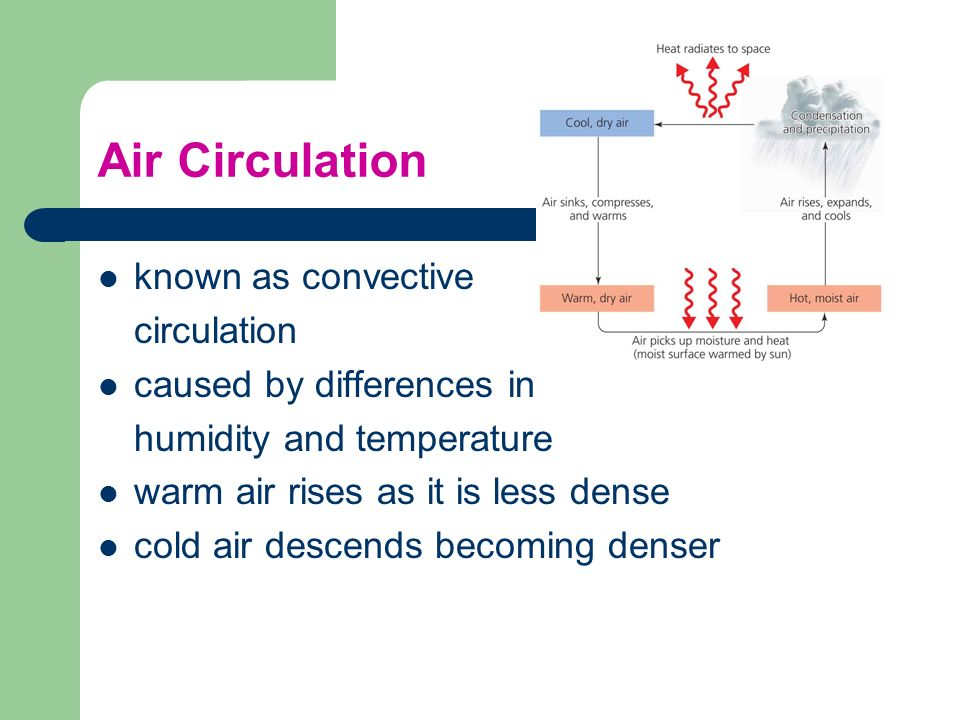 Air Circulation known as convective circulation caused by differences in humidity and temperature warm air rises as it is less dense cold air descends