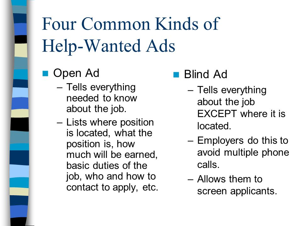 Four Common Kinds of Help-Wanted Ads Open Ad –Tells everything needed to know about the job.