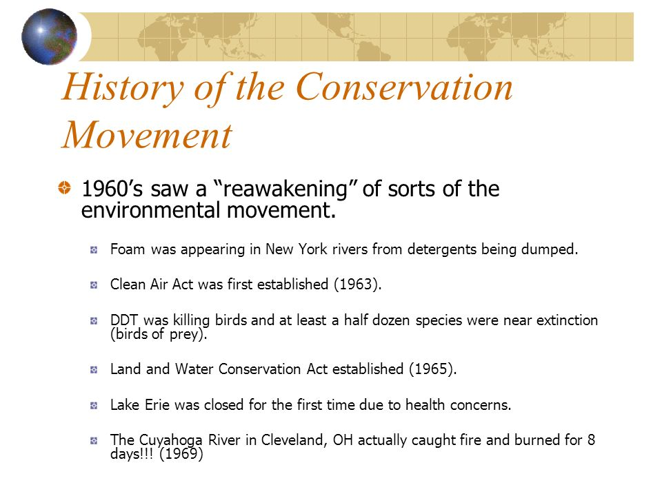 History of the Conservation Movement 1960s saw a reawakening of sorts of the environmental movement.