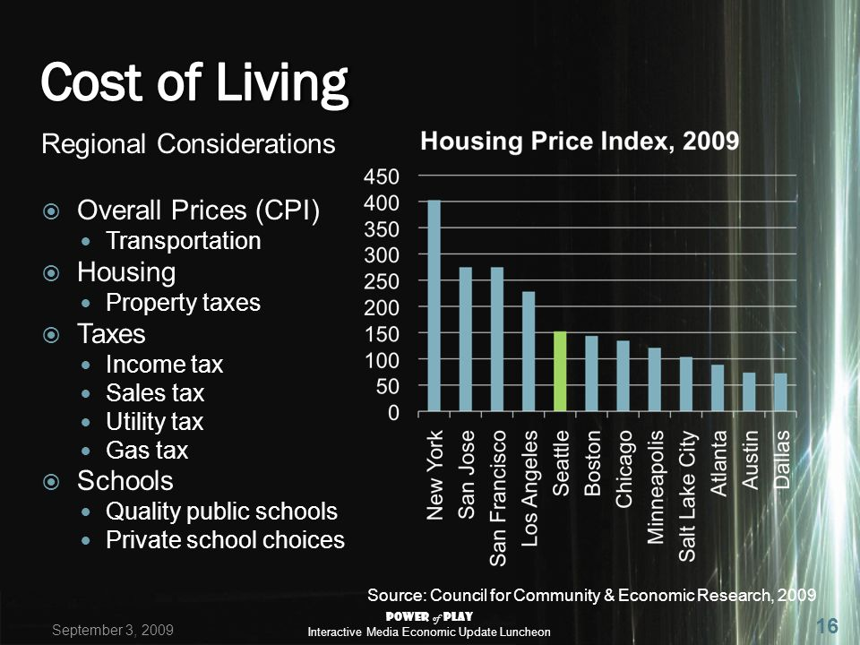 Regional Considerations Overall Prices (CPI) Transportation Housing Property taxes Taxes Income tax Sales tax Utility tax Gas tax Schools Quality public schools Private school choices Source: Council for Community & Economic Research, 2009 September 3, 2009 Power of Play Interactive Media Economic Update Luncheon 16