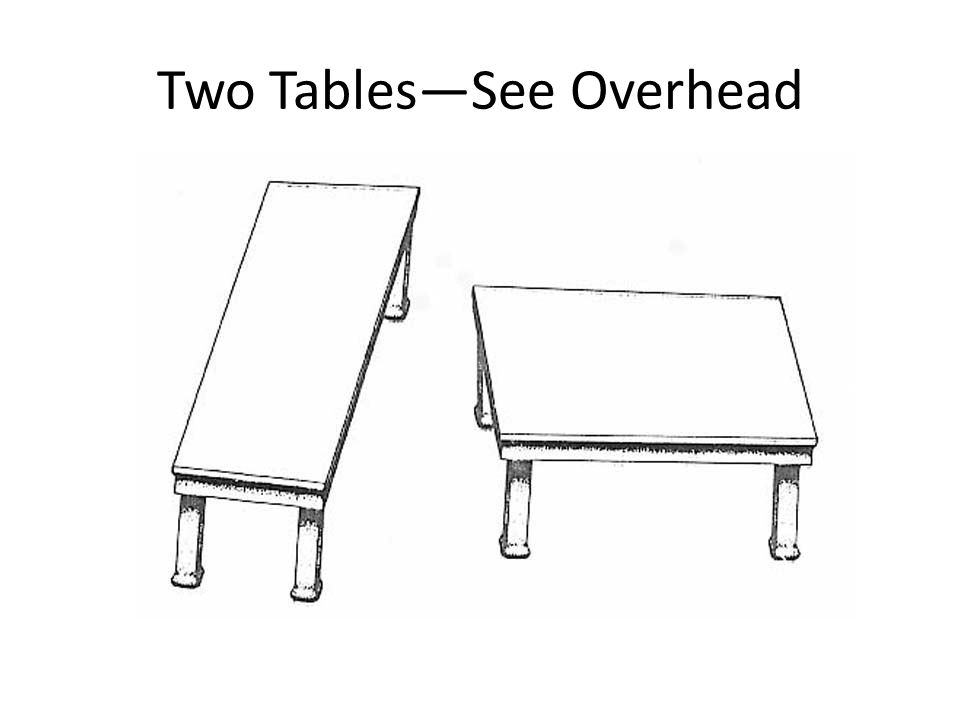 Two TablesSee Overhead