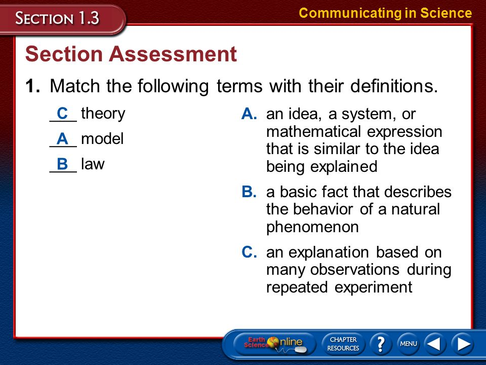 Theories and Laws A scientific law is a basic fact that describes the behavior of a natural phenomenon. Communicating in Science –A scientific law can