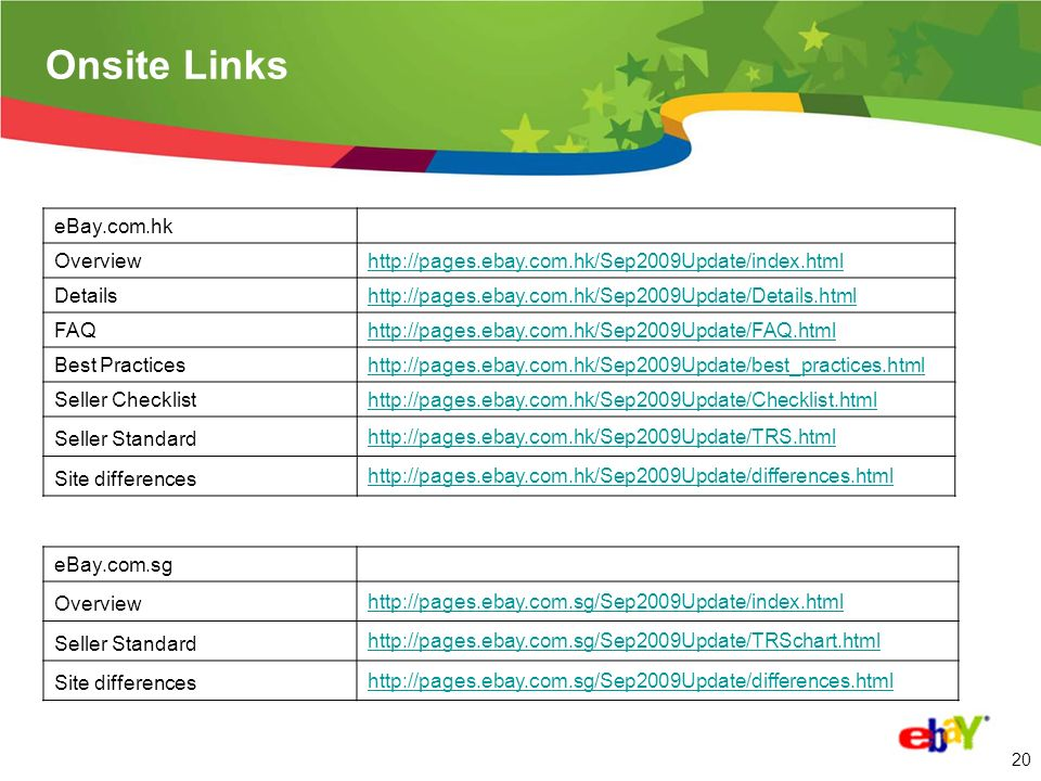 19 Onsite Links eBay.com Overviewwww.ebay.com/sell/July2009Update/Overview Detailswww.ebay.com/sell/July2009Update/Details FAQwww.ebay.com/sell/July2009Update/FAQ Best Practiceswww.ebay.com/sell/July2009Update/BestPractices Seller Checklistwww.ebay.com/sell/July2009Update/Checklist eBay.cn Overview http://www.ebay.cn/Sep2009Update/index.html Details http://www.ebay.cn/Sep2009Update/Details.html FAQ http://www.ebay.cn/Sep2009Update/MasterFAQ.html Best Practices http://www.ebay.cn/Sep2009Update/BestPractices.html Seller Checklist http://www.ebay.cn/Sep2009Update/Checklist.html Seller Standard http://www.ebay.cn/Sep2009Update/Chart.html Site differences http://www.ebay.cn/Sep2009Update/New.html