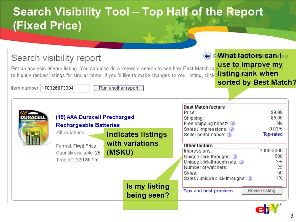 7 New Search Visibility Tool – US/UK/DE (AKA, Best Match v2 Seller tool) 1.How much visibility is my listing receiving.