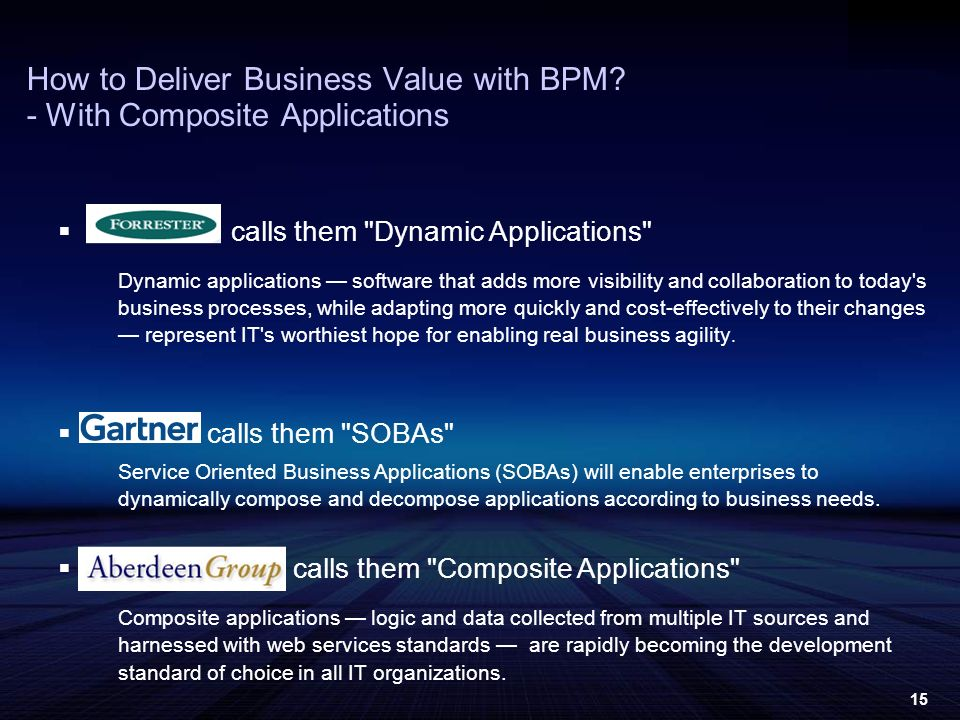 15 calls them Dynamic Applications Dynamic applications software that adds more visibility and collaboration to today s business processes, while adapting more quickly and cost-effectively to their changes represent IT s worthiest hope for enabling real business agility.