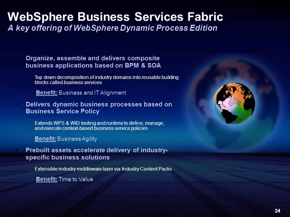 24 Organize, assemble and delivers composite business applications based on BPM & SOA Top down decomposition of industry domains into reusable building blocks called business services Benefit: Business and IT Alignment Delivers dynamic business processes based on Business Service Policy Extends WPS & WID tooling and runtime to define, manage, and execute context-based business service policies Benefit: Business Agility Prebuilt assets accelerate delivery of industry- specific business solutions Extensible industry middleware layer via Industry Content Packs Benefit: Time to Value WebSphere Business Services Fabric A key offering of WebSphere Dynamic Process Edition