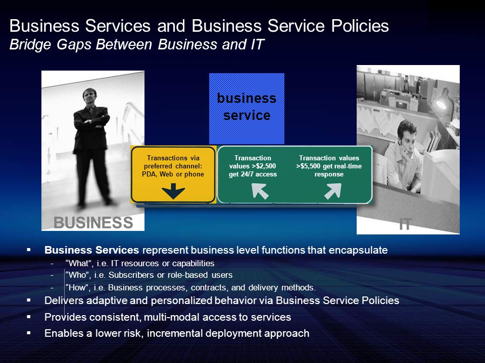 Business Services and Business Service Policies Bridge Gaps Between Business and IT BUSINESS IT Business Services represent business level functions that encapsulate -What, i.e.