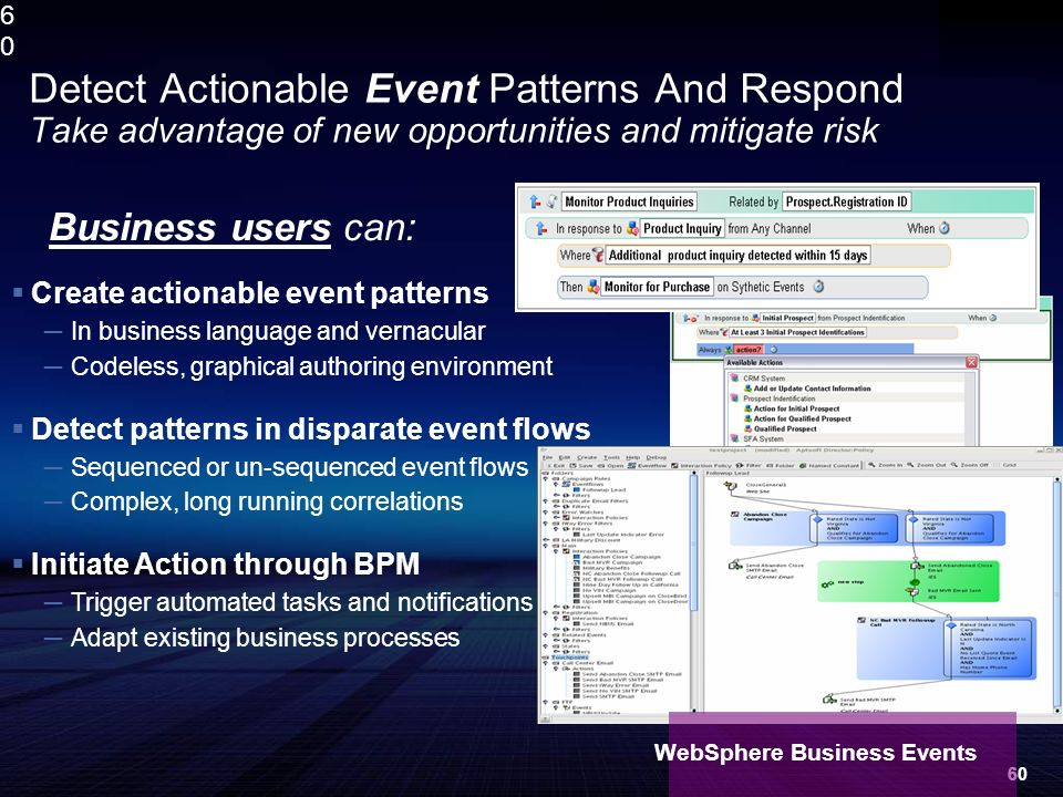 6060 Create actionable event patterns In business language and vernacular Codeless, graphical authoring environment Detect patterns in disparate event flows Sequenced or un-sequenced event flows Complex, long running correlations Initiate Action through BPM Trigger automated tasks and notifications Adapt existing business processes Detect Actionable Event Patterns And Respond Take advantage of new opportunities and mitigate risk Business users can: WebSphere Business Events