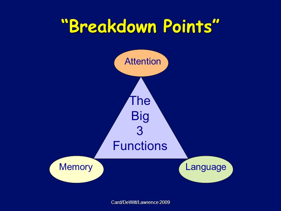 Card/DeWitt/Lawrence 2009 Breakdown Points The Big 3 Functions Memory Attention Language