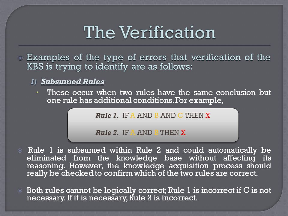 Examples of the type of errors that verification of the KBS is trying to identify are as follows: Examples of the type of errors that verification of