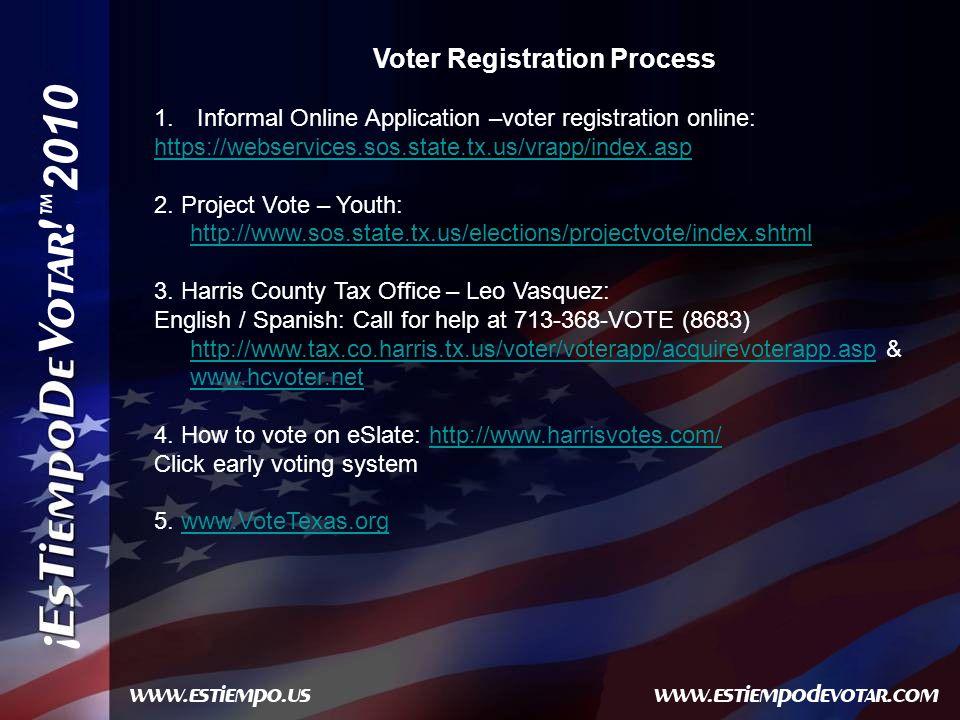 2010 Voter Registration Process 1.