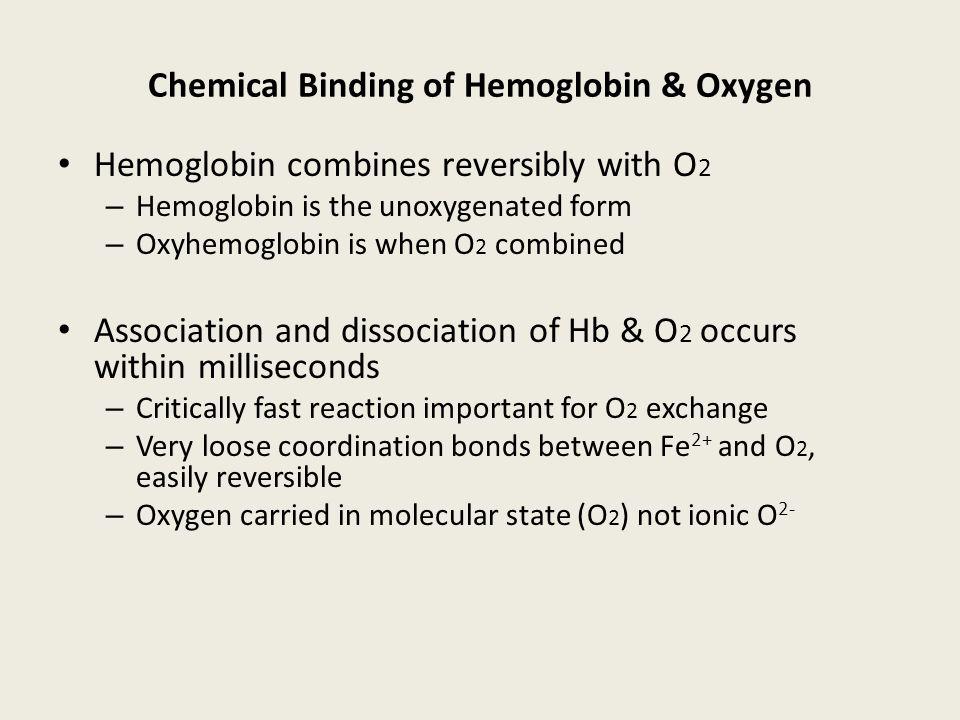 Hemoglobin Oxygen carrier protein 4 subunits = 2 alpha + 2 beta Normal adult = HbA = 2 2 Four heme groups - iron- porphyrin compound at O 2 binding si