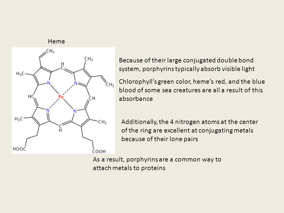 Porphyrin Porphyrin rings are biological molecules used in a variety of essential chemical processes The two most well-known porphyrins are heme and c