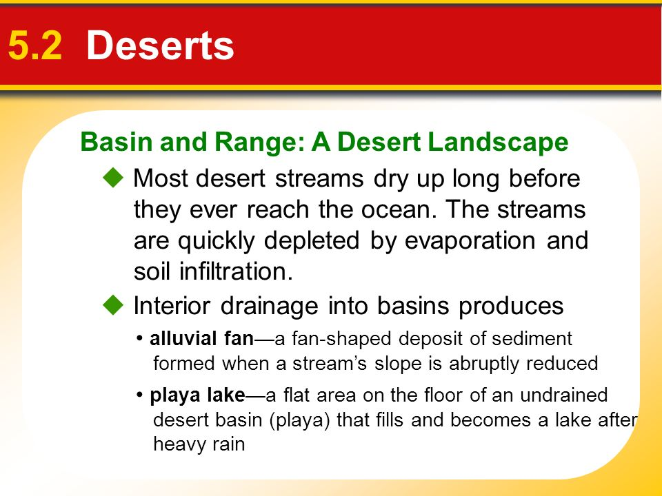 Basin and Range: A Desert Landscape 5.2 Deserts playa lakea flat area on the floor of an undrained desert basin (playa) that fills and becomes a lake
