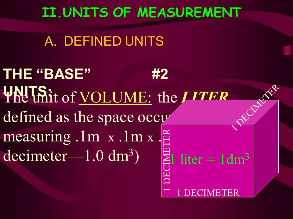 II.UNITS OF MEASUREMENT A. DEFINED UNITS THE BASE UNITS: The unit of VOLUME: the LITER… defined as the space occupied by a cube measuring.1m x.1m x.1m