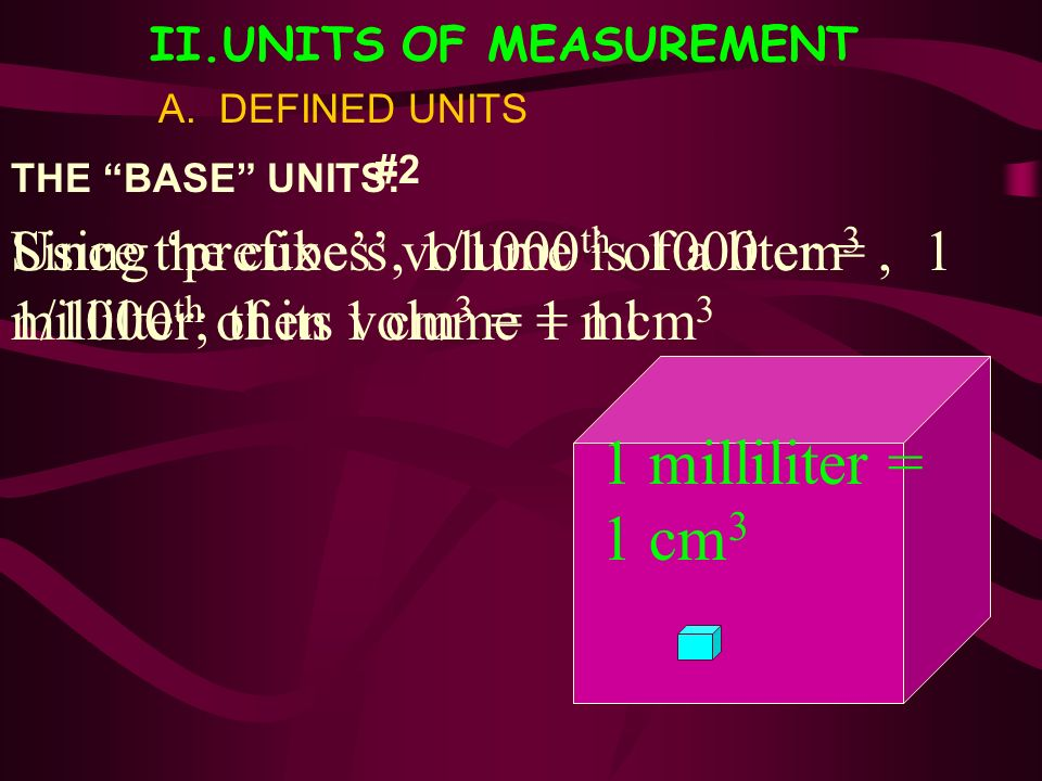 II.UNITS OF MEASUREMENT A. DEFINED UNITS THE BASE UNITS: Since the cubes volume is 1000 cm 3, 1/1000 th of its volume = 1 cm 3 #2 1 milliliter = 1 cm