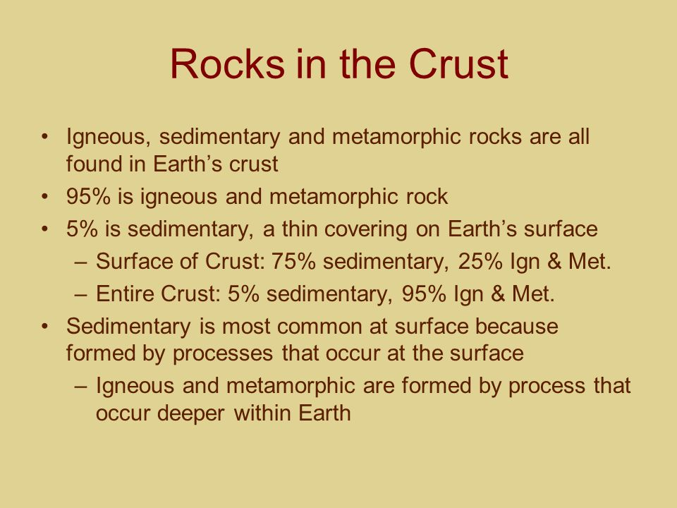 Rocks in the Crust Igneous, sedimentary and metamorphic rocks are all found in Earths crust 95% is igneous and metamorphic rock 5% is sedimentary, a t