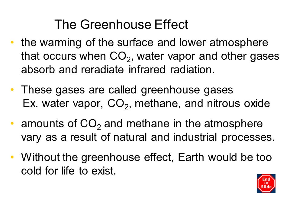 The Greenhouse Effect the warming of the surface and lower atmosphere that occurs when CO 2, water vapor and other gases absorb and reradiate infrared