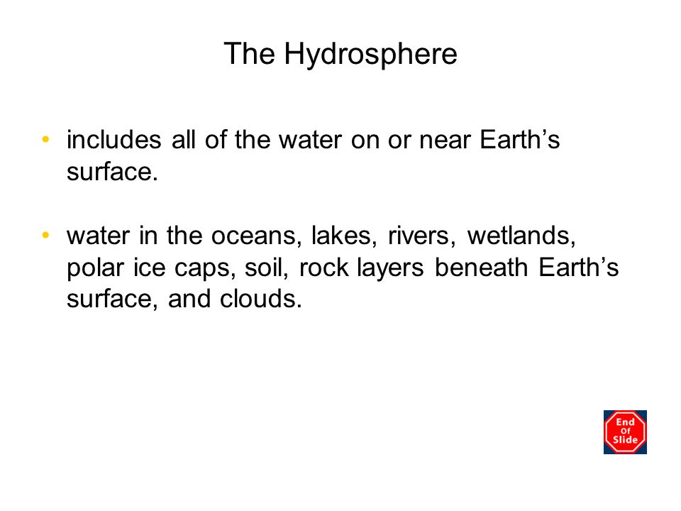 The Hydrosphere includes all of the water on or near Earths surface. water in the oceans, lakes, rivers, wetlands, polar ice caps, soil, rock layers b