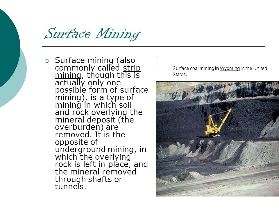 Surface Mining Surface mining (also commonly called strip mining, though this is actually only one possible form of surface mining), is a type of mini