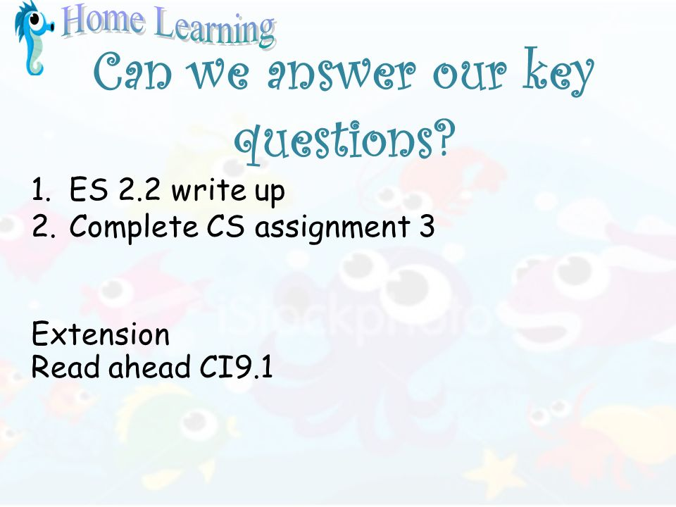 Can we answer our key questions? 1.ES 2.2 write up 2.Complete CS assignment 3 Extension Read ahead CI9.1