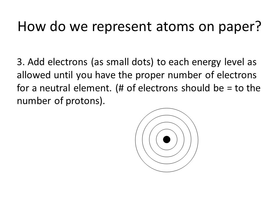 How do we represent atoms on paper? 3. Add electrons (as small dots) to each energy level as allowed until you have the proper number of electrons for