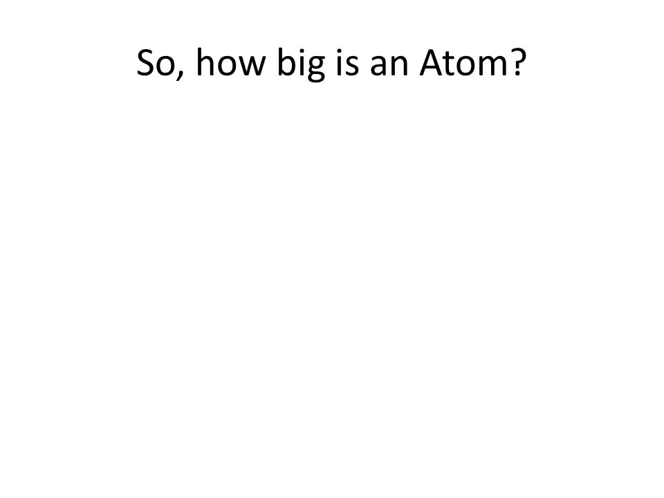 So, how big is an atom?!