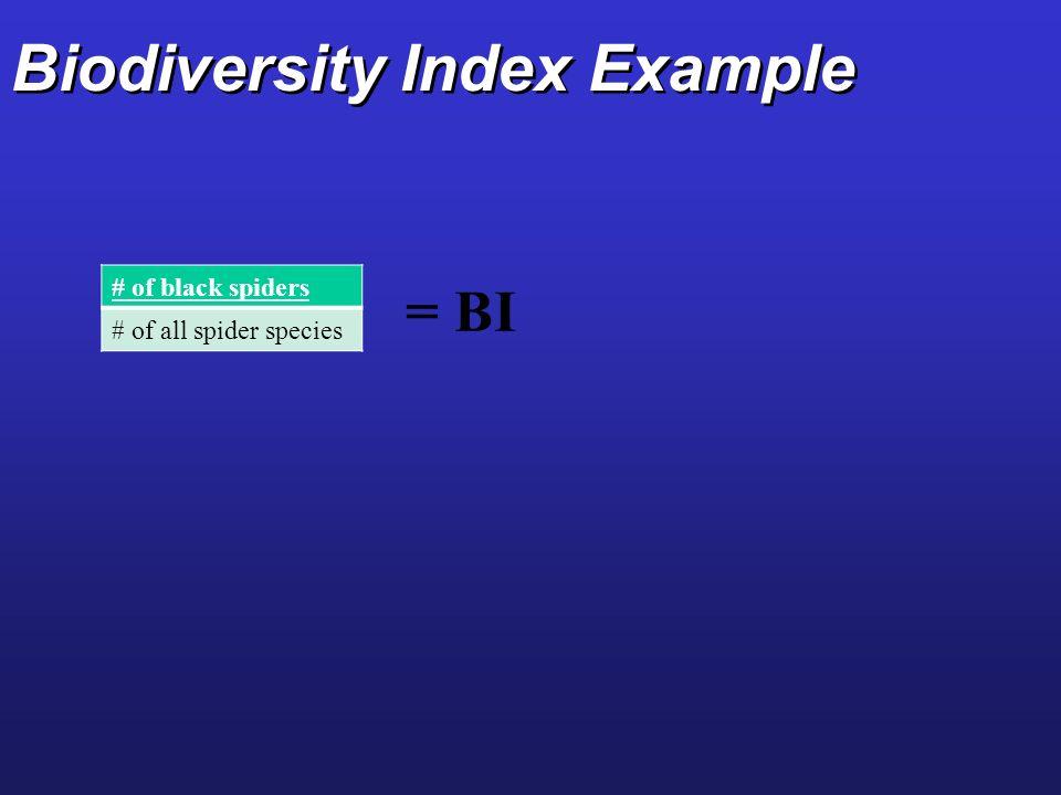 Biodiversity Index Example # of black spiders # of all spider species = BI