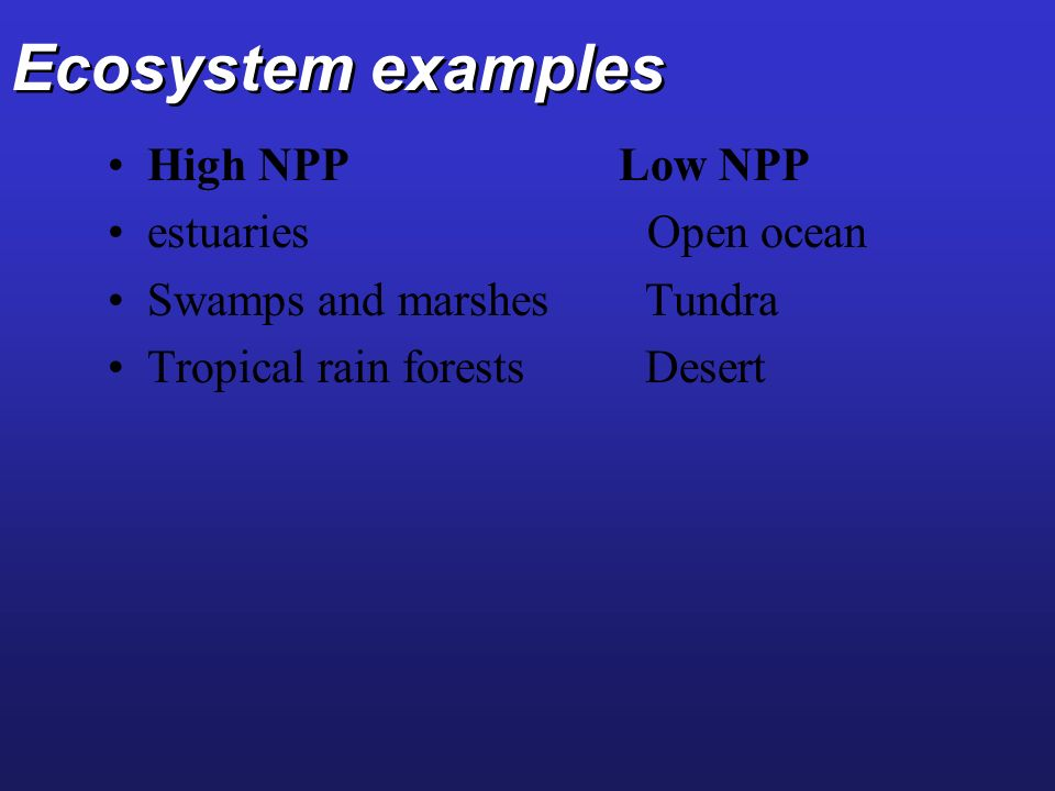 Ecosystem examples High NPP Low NPP estuaries Open ocean Swamps and marshes Tundra Tropical rain forests Desert