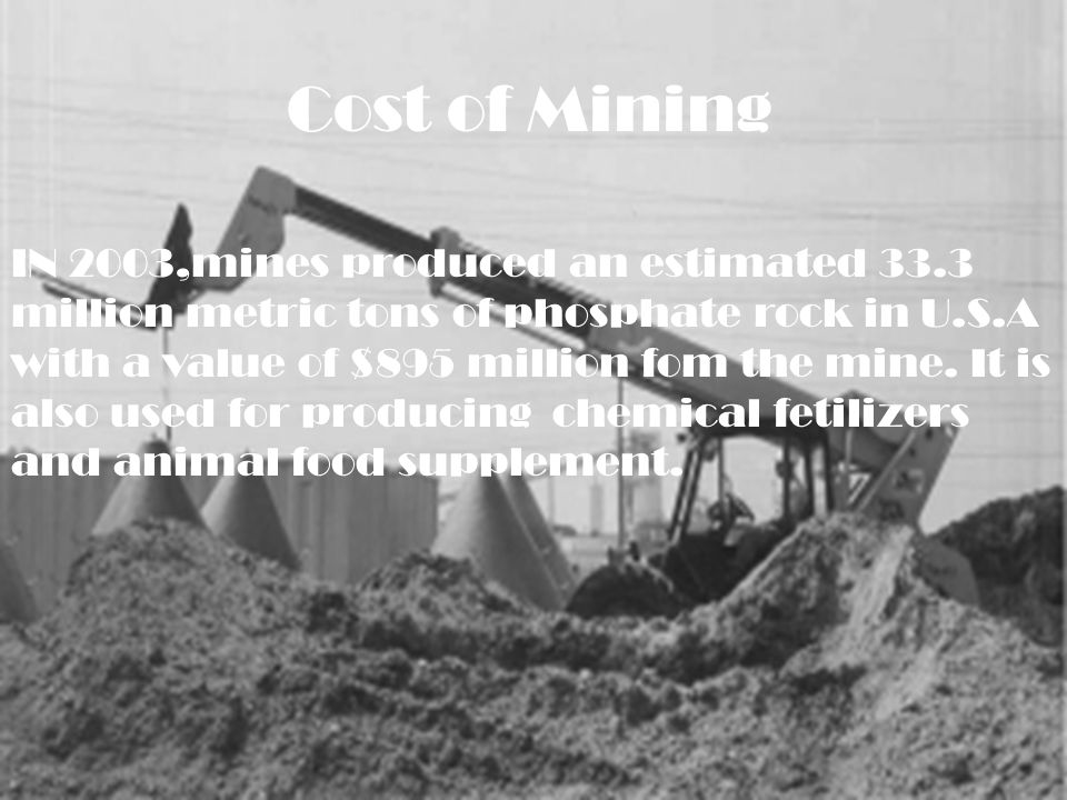 Cost of Mining IN 2003,mines produced an estimated 33.3 million metric tons of phosphate rock in U.S.A with a value of $895 million fom the mine.