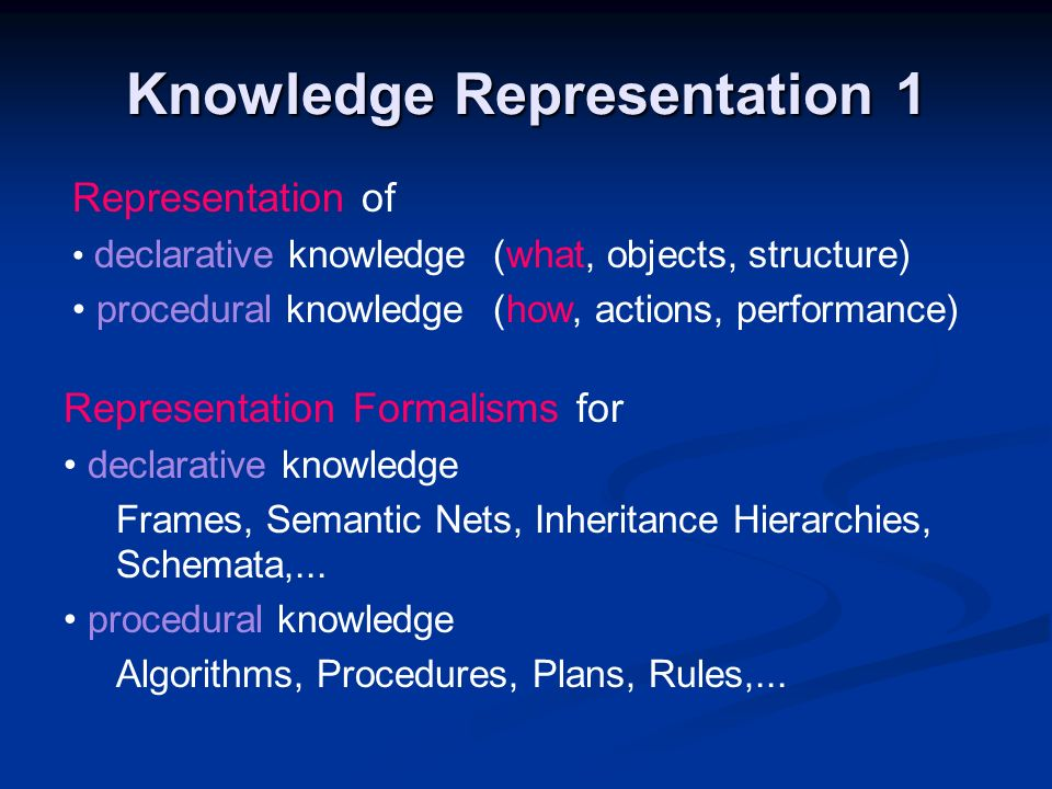 Knowledge Representation 1 Representation of declarative knowledge(what, objects, structure) procedural knowledge(how, actions, performance) Represent