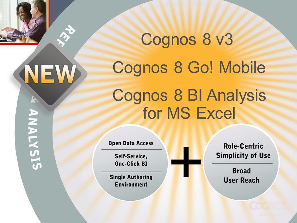 Cognos 8 BI Analysis for MS Excel Cognos 8 Go! Mobile Cognos 8 v3