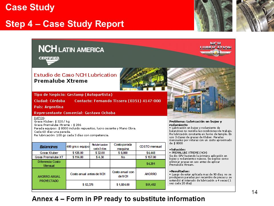14 Case Study Step 4 – Case Study Report Annex 4 – Form in PP ready to substitute information
