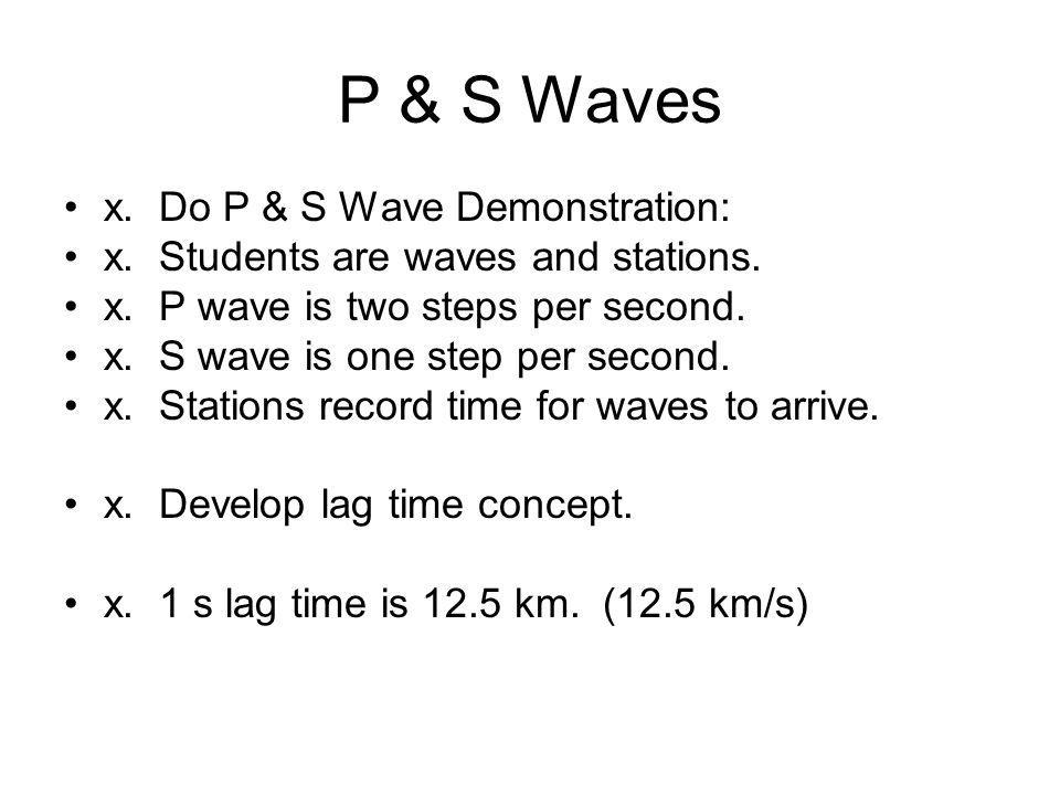 P & S Waves x. Do P & S Wave Demonstration: x. Students are waves and stations.
