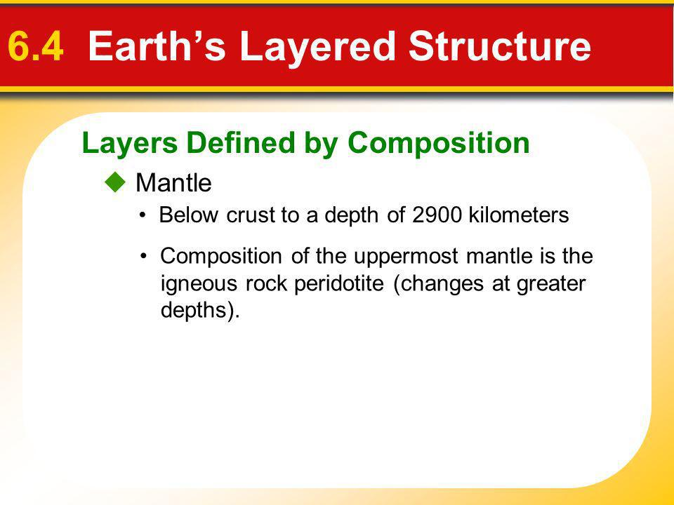Layers Defined by Composition 6.4 Earths Layered Structure Mantle Below crust to a depth of 2900 kilometers Composition of the uppermost mantle is the