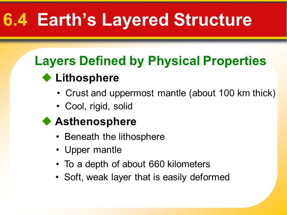 Layers Defined by Physical Properties 6.4 Earths Layered Structure Lithosphere Crust and uppermost mantle (about 100 km thick) Cool, rigid, solid Asth