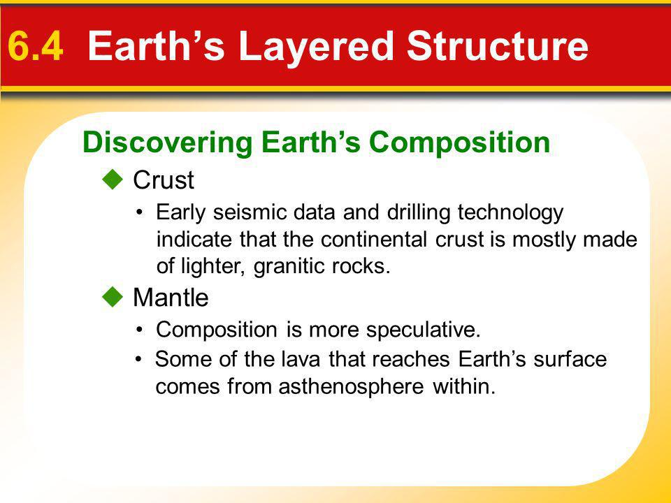 Discovering Earths Composition 6.4 Earths Layered Structure Mantle Crust Early seismic data and drilling technology indicate that the continental crus