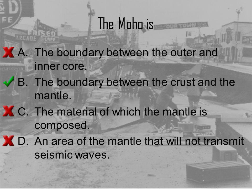 The Moho is A.The boundary between the outer and inner core. B.The boundary between the crust and the mantle. C.The material of which the mantle is co