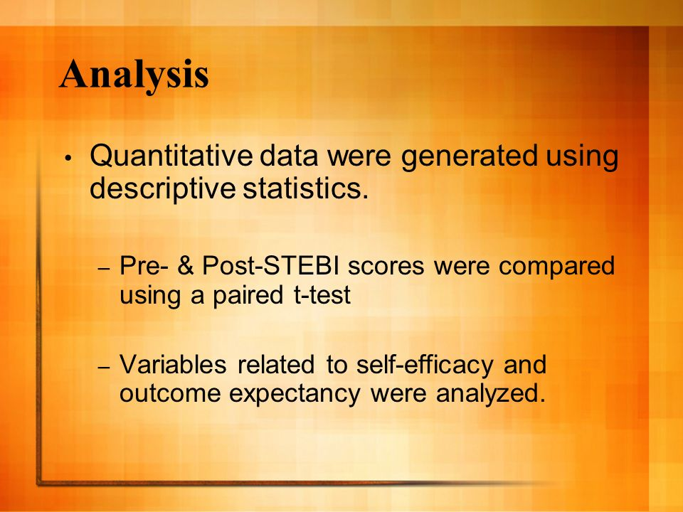 Analysis Quantitative data were generated using descriptive statistics.