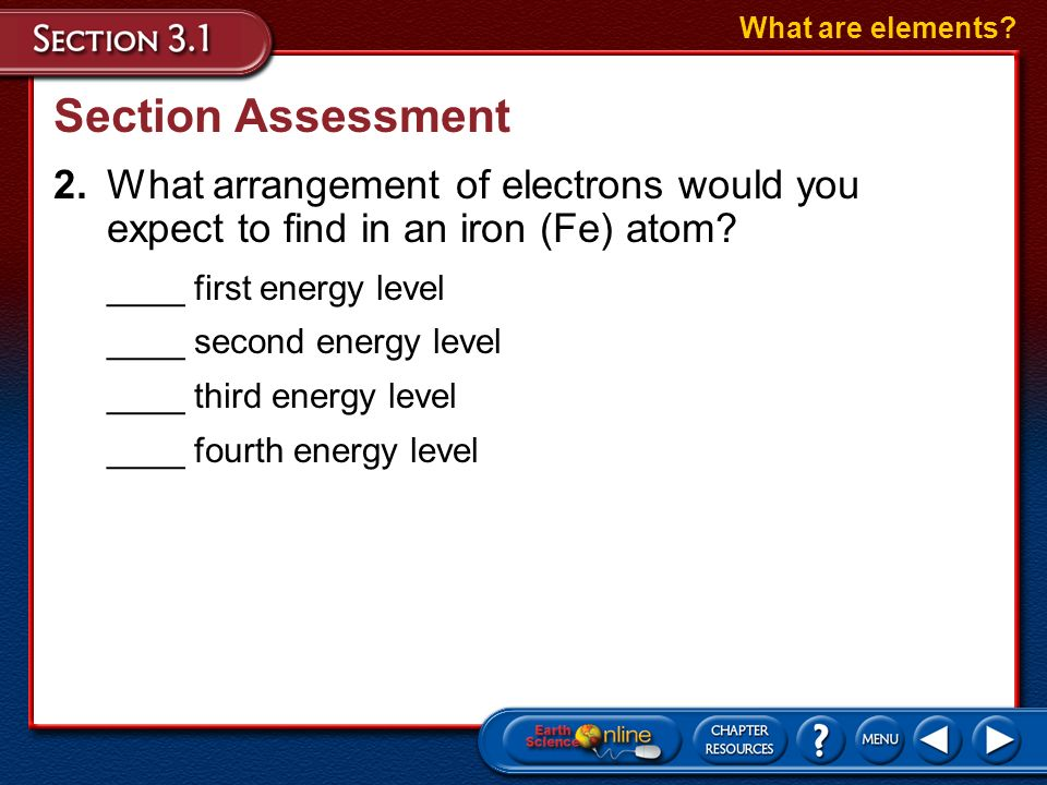 Section Assessment 1.Match the following terms with their definitions. ___ proton ___ energy level ___ neutron ___ atom What are elements? A.a tiny pa