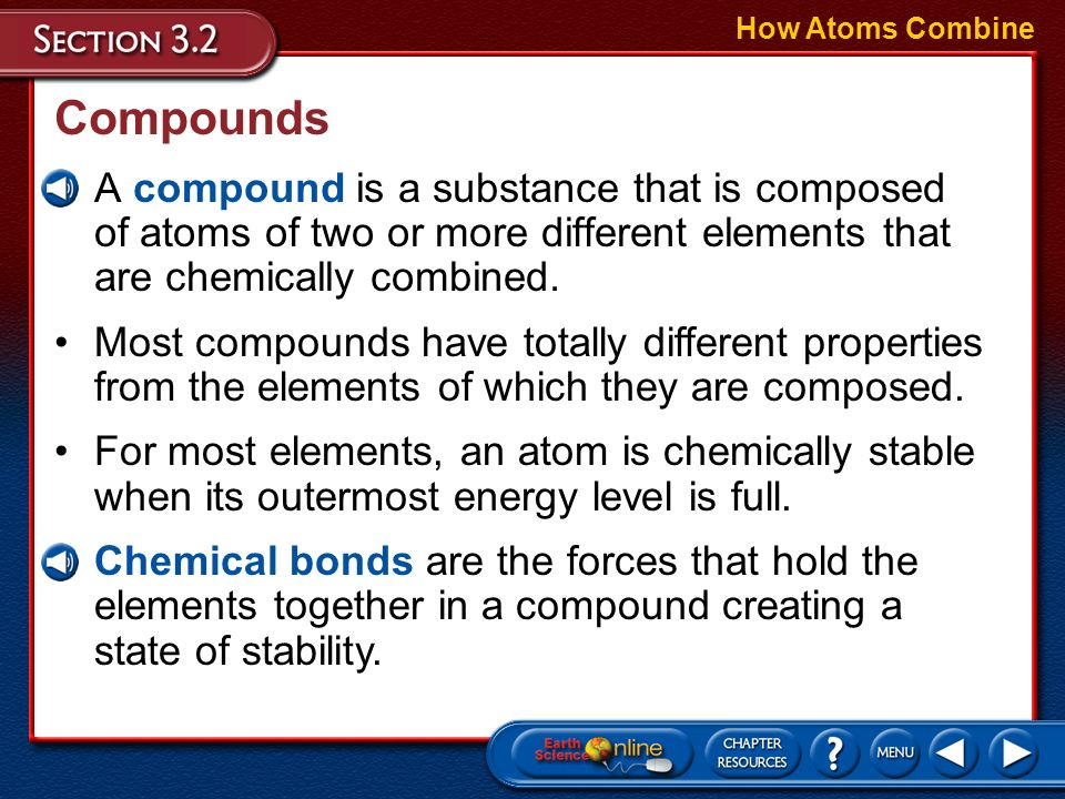 Objectives Describe the chemical bonds that unite atoms to form compounds. Relate the nature of chemical bonds that hold compounds together to the phy