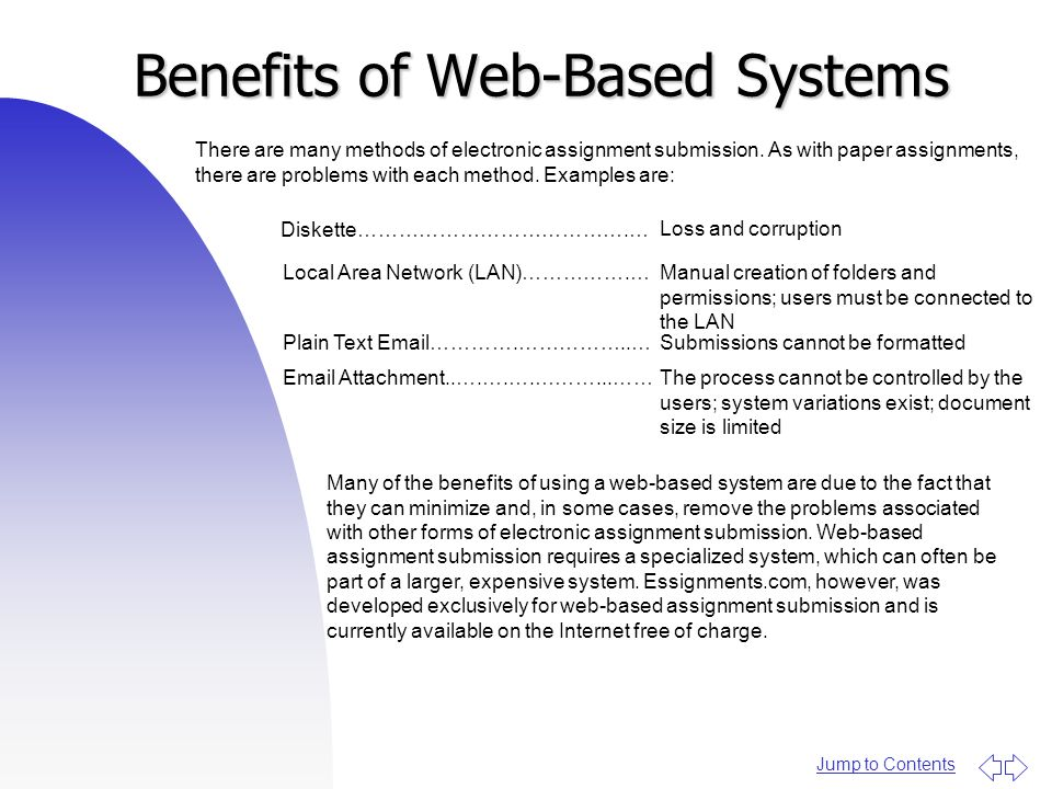 Jump to Contents Benefits of Web-Based Systems There are many methods of electronic assignment submission.