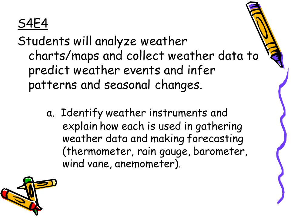 S4E4 Students will analyze weather charts/maps and collect weather data to predict weather events and infer patterns and seasonal changes.