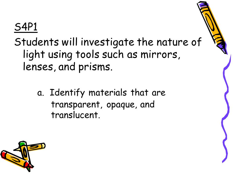 S4P1 Students will investigate the nature of light using tools such as mirrors, lenses, and prisms.