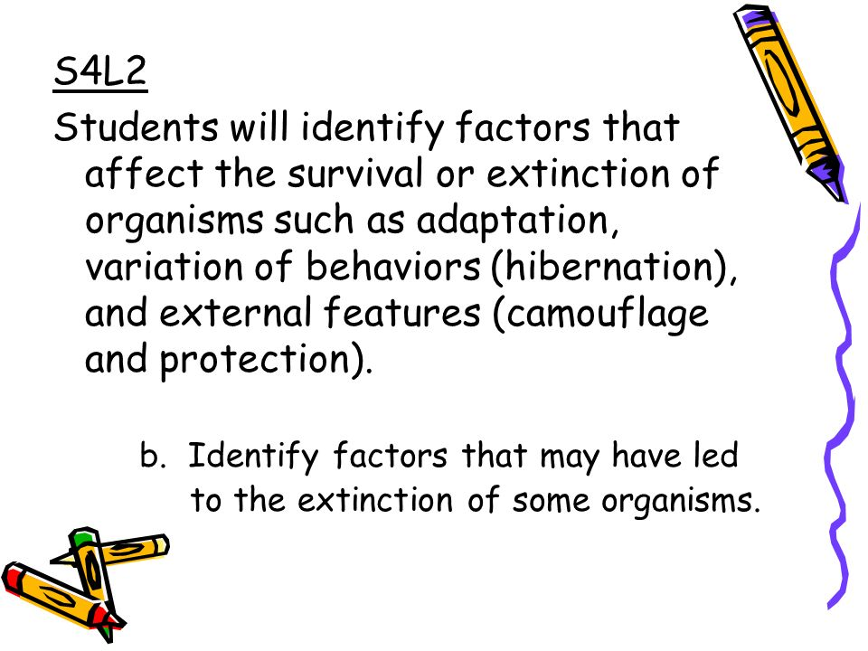 S4L2 Students will identify factors that affect the survival or extinction of organisms such as adaptation, variation of behaviors (hibernation), and external features (camouflage and protection).